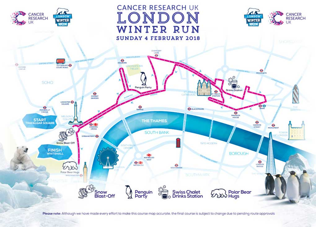 Winter Run 2018 - Cancer Research 2018 - Route Map